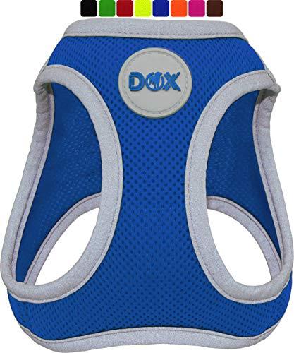DDOXX Brustgeschirr Air Mesh, Step-In, reflektierend | viele Farben | für kleine, mittlere & mittelgroße Hunde | Hunde-Geschirr Hund Katze Welpe | Katzen-Geschirr Welpen-Geschirr | Blau, L