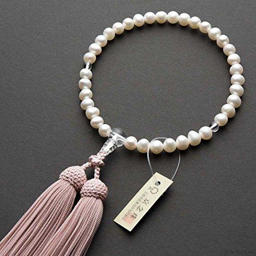 数珠・女性用 淡水真珠(白) 7mm玉 水晶仕立 正絹房 桐箱入