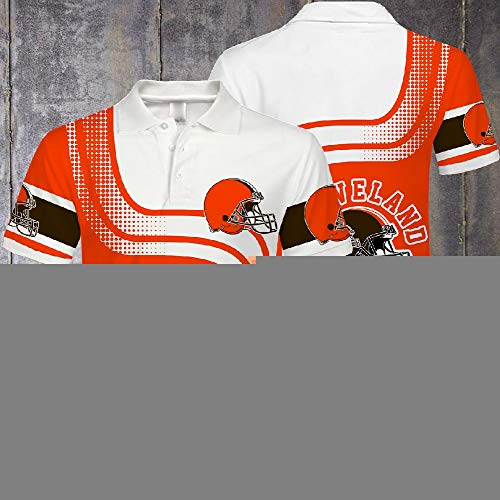 Polo-T-Shirts - NFL Cleveland Browns Fan Unisex T-Shirt Beiläufiger Sommer Kurzarmshirts - Jugendliche Geschenke - Für Das Körpertraining A-S
