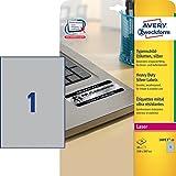 Avery Zweckform Typenschild-Etiketten DIN A4 210x297mm, silber, 20 Etiketten