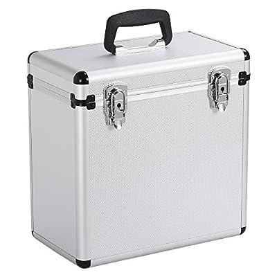 Yaheetech Heavy Duty 50pcs Vinyl LP Record Box Storage Case w/Lockable Latches,Silver