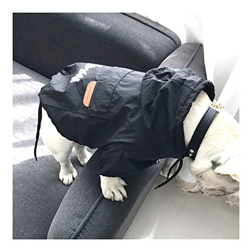Hundebekleidung for Kleine Hunde wasserdichte Jacke for Chihuahua Regenmantel for Französische Bulldogge Welpen Haustier Kostüm (Color : Black, Size : 4XL)