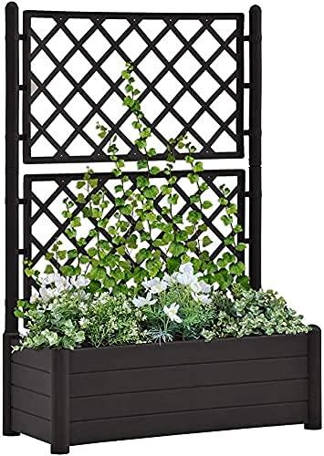Plantenbak Rozenboog Bloembak met Trellis met Plantenbak Polypropyleen Antraciet Top voor Tuin Patio en Balkon voor Tuin DecoratieTuin Bed
