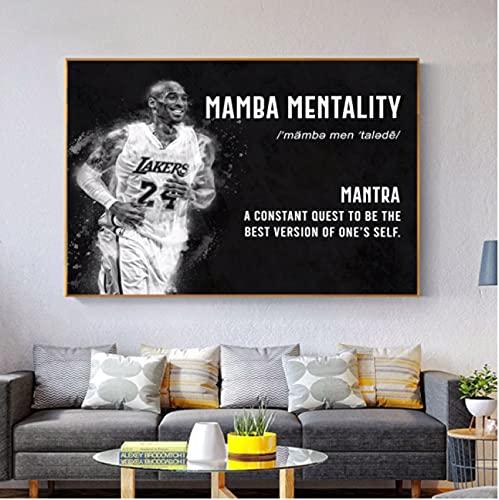 Weiqiaolian Póster con cita motivacional, diseño de mamba Mentality Gym Room Decor Fitness Sports en la pared, decoración del hogar (60 x 90 cm), sin marco