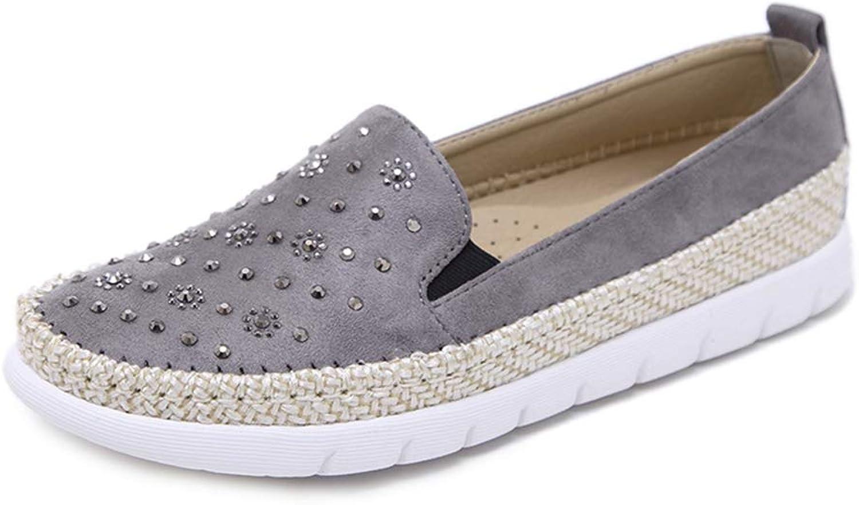 T-JULY Fashion Women Casual Round Toe Flats Loafers Rhinestone Rivet Hemp Rope Ladies shoes