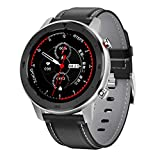 DTNO.1 DT78 1.3 inch Health Care Fitness Tracker Smart Sports Watch IP68 Waterproof Blood Pressure Blood Oxygen Heart Rate Sleep Monitor (Black+Gray Leather)