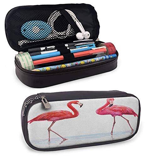 XCNGG Animal Big Capacity Pencil Pouch, zwei handgezeichnete Flamingos in rosa Farben...
