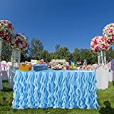 Blue 9ft Curly Willow Table Skirting Lace Taffeta Table Skirt Tutu Tulle Table Skirt for Round or Rectangle Table for Birthday, Wedding, Party Decoration Supplies(L108in×H30in)