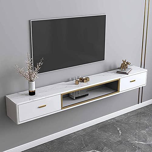 Mueble de TV Flotante, Mueble TV de Pared con cajón y gestión de cables, para sala de estar sala de entretenimiento oficina/Blanco / 120cm