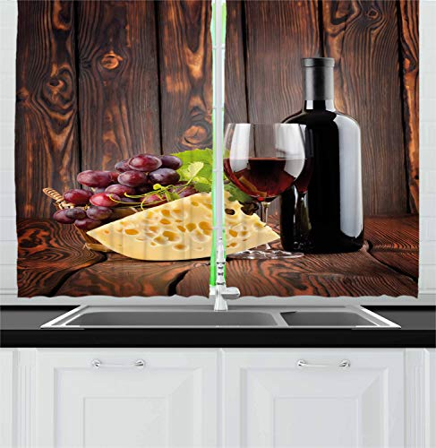 Ambesonne Wine Kitchen Curtains, Red Wine Cabernet Bottle and Glass Cheese and Grapes on Wood Planks Print, Window Drapes 2 Panel Set for Kitchen Cafe Decor, 55' X 39', Brown Burgundy Cream