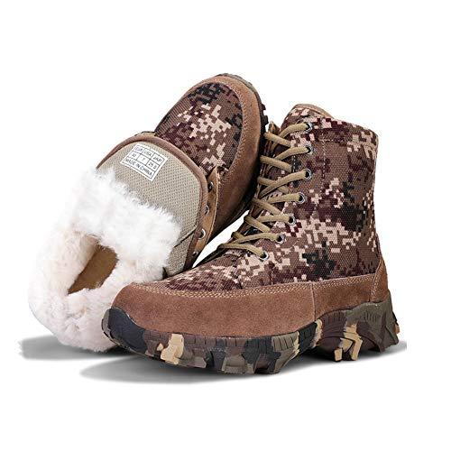 MNSSRN-MM Frío invierno a prueba de algodón botas, de alta Top camuflaje impermeable al aire libre de la nieve botas de lana caliente impermeable resistente al desgaste botas de esquí,Marrón,43