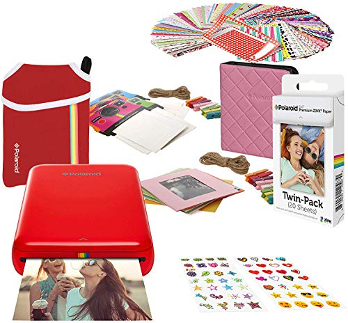 Polaroid Zip Wireless Photo Printer (Rood) Startpakket met neopreen hoes