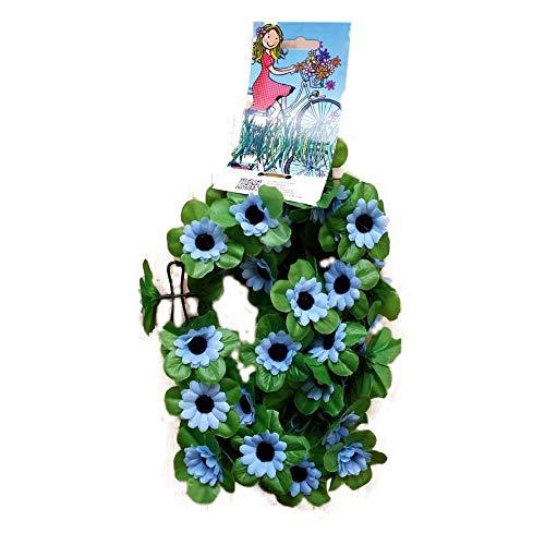 Unbekannt Fahrradgirlande Blumengirlande Sonnenblume Blau 120 cm