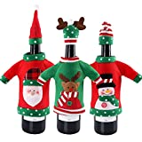 3PCS Ugly Christmas Sweater Wine Bottle Cover, Handmade Wine Bottle Sweater for Christmas Decorations Ugly Christmas Sweater Party Decorations