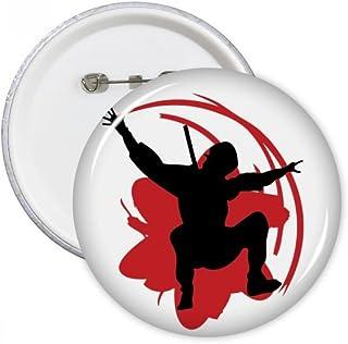 DIYthinker Bushido Samurai Sakura Silhouette Japon Asie Bouton rond Badge Pins Vêtements Décoration cadeau 5pcs M Multicolore