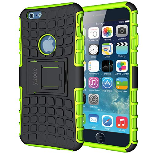 """ykooe Case for iPhone 6S Phone Case, iPhone 6 Case [Heavy Duty] Tough Dual Layer Hybrid Silicon Protective Cover Armor with Kickstand for iPhone 6 / 6S (4.7"""") Green"""