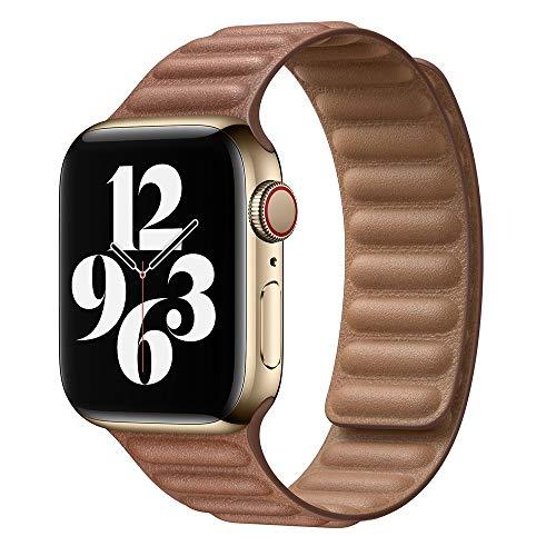KAAGGF Enlace de Cuero para la Banda de Reloj de Apple 44mm 40mm 38mm 42mm Watch Band Band Magnetic Loop Pulsera para iWatch Seires 5 4 SE 6 Correa (Band Color : Brown, Band Width : 42mm or 44mm)