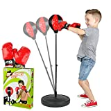 ToyVelt Punching Bag For Kids Boxing Set Includes Kids Boxing Gloves And punching bag, Standing Base With Adjustable Stand + Hand Pump - Top Gifting Idea For Boys and Girls Ages 3 - 8 Years Old