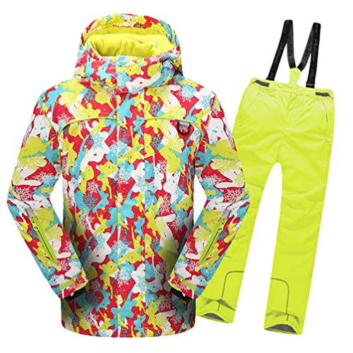 Lvguang Jungen & Mädchen Berg Wasserdicht Warm Skibekleidung Winddicht Regen Schnee Kapuzenjacke & Skihose (Gelb#3, Asia S)
