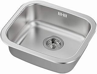 IKEA FYNDIG/LILLVIKEN Einzelschüssel-Edelstahlspüle mit Wasserfalle/Sieb 1 Schüssel