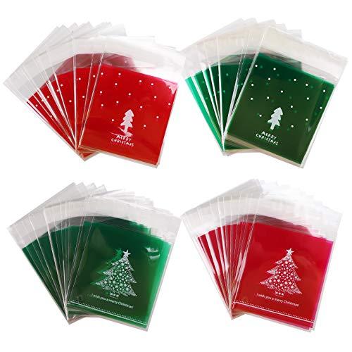 400 Stück Süßigkeiten Taschen Weihnachten Klare Cellophan Taschen Transparent Kekstüten Gebäcktüten Klebemittel Weihnachtstüten Geschenktüte, Selbstklebend OPP Tütchen Verpackungs(Christmas Tree)