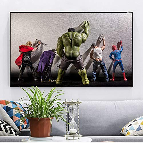 Mode Leinwand Malerei Avengers Movie Hulk Superhelden In Der Toilette Thor Poster Nordic Funny Marvel Heros Kinderzimmer Wandkunst Home Decor Gemälde 60 * 90cm