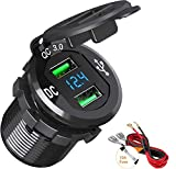 Quick Charge 3.0 USB Car Charger, BAODANTECH 12V/24V 36W Aluminum Waterproof Dual QC3.0 USB Fast Charger Socket Power Outlet with LED Display for Marine, Boat, Motorcycle, Truck, Golf Cart and More
