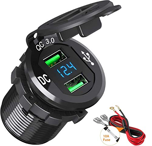 BAODANTECH Quick Charge 3.0 USB Car Charger, 12V/24V 36W Aluminum Waterproof Dual QC3.0 USB Fast Charger Socket Power Outlet with LED Display for Marine, Boat, Motorcycle, Truck, Golf Cart and More