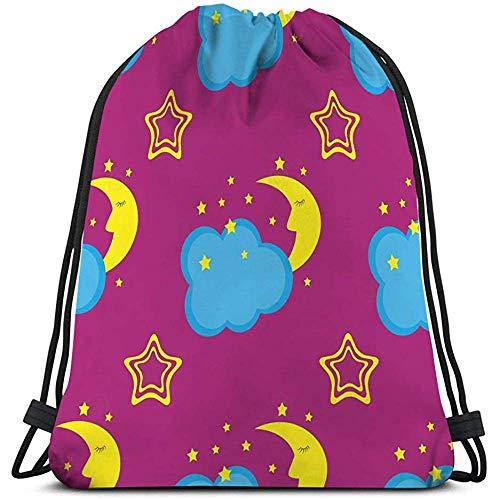 Trekkoord Tas Voor Gym Tassen Sport Tas comic slaap halve maan wolken sterren kinderen grappige sjabloon kinderen s dingen Tekenen