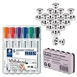 12 Imanes de Neodimio para Pizarra Magnetica Blanca, STAEDTLER 351 WP6 Rotuladores Lumocolor, Inodoro, Secado rápido, Paquete de 6 Colores, Bi-Office Borrador Magnético Ligero