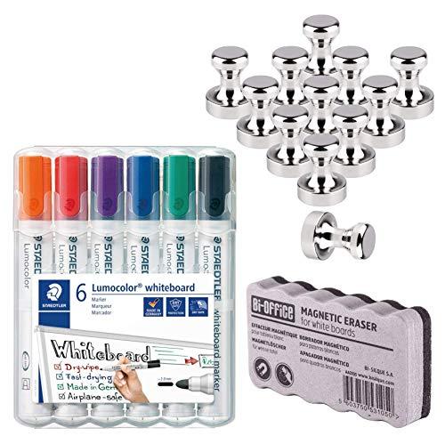 12 Neodym Magnet für Magnettafel, Pinnwand, Whiteboard | Staedtler Lumocolor 351 WP6 Whiteboard-Marker, Rundspitze ca. 2 mm Linienbreite 6 Farben | Bi-Office Whiteboardlöscher, magnetisch - Bundle