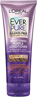 L'Oreal Paris Hair Care EverPure Sulfate Free Brass Toning Purple Conditioner for Blonde, Bleached, Silver, or Brown Highlighted Hair, 6.8 Fl. Oz.
