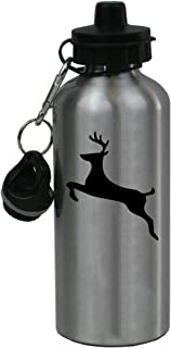 Personalized Custom Jumping Deer Aluminum Silver Finish 20 Ounce Water Bottle Customizable