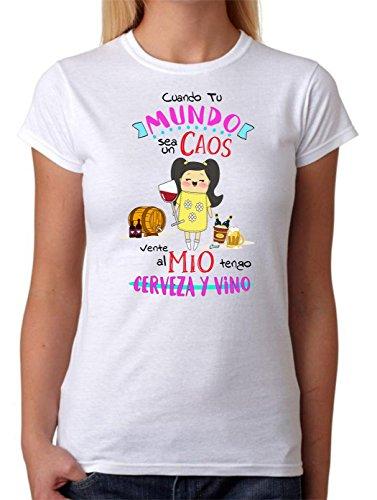 Camiseta Cuando tu Mundo Sea un Caos vente al Mio Tengo Cerveza y Vino. Camiseta Divertida para Feria, Despedidas Soltera, Fiestas, Regalo Amiga, cumpleaños. (L)