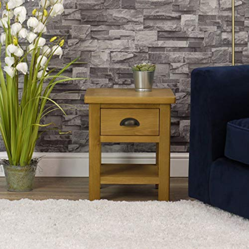Milan Oak Lamp Table | 1 Drawer Side Table | Medium Wood Tone