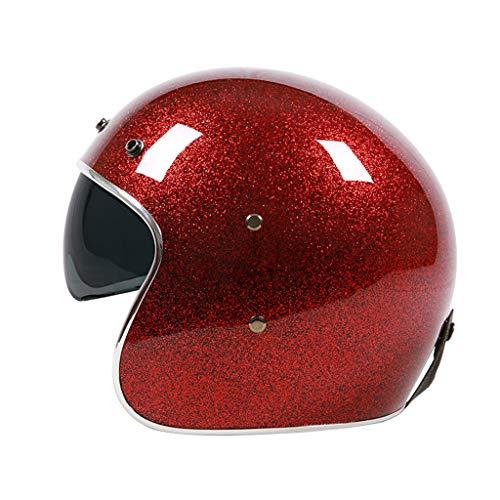 DJCALA Motorrad-Halb Offener Helm mit Sonnenblende, Open Face Jet-Helm Scooter-Helm Schutz Shell Helm Retro Oldtimer Helm, ECE-Zulassung, für Männer und Frauen (54-64cm)