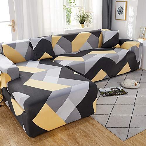 WXQY Funda de sofá de Esquina con patrón de Lino, Utilizada para la Funda de sofá de la Sala de Estar, sofá elástico con Todo Incluido, sillón Chaise sofá A1 de 3 plazas
