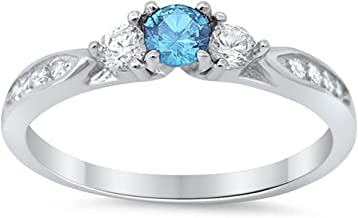 Blue Apple Co. 3-Stone Wedding Engagement Ring Round Cubic Zirconia Three Stone 925 Sterling Silver Choose Color