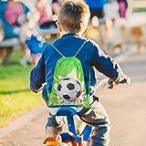 Qpout Fußball Taschen 12 STÜCKE Kordelzug Fußball Rucksack Kindergeburtstag Gastgeschenke Liefert Goodie Taschen für Kinder Mädchen Jungen Kleinkinder - 6