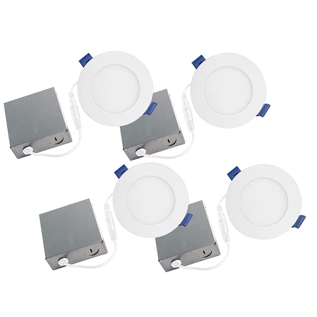 Bazz SLDSKB4W4 Slim Disk Integrated LED Recessed Lighting Kit, Energy Star, Dimmable, Damp and Wet Location 4.25-in Matte White yqdvhagg1