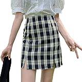 Falda para Mujer,Rayas Negras A Cuadros con Estampado Geométrico Dobladillo con Abertura En La Espalda...