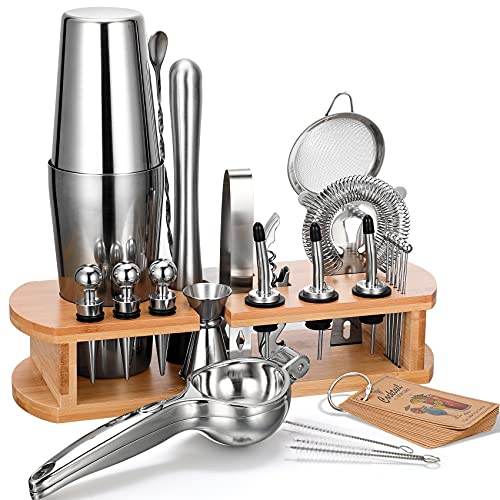 24-Piece Cocktail Shaker Bartender Kit with Stand, Boston Shaker, Mixing Spoon, Muddler, Measuring Jigger, Lemon Squeez, Tongs, Corkscrew, Liquor Pourers and More Professional Bar Tools