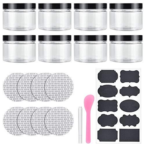SSPECOTNR 8 Stücke Dosen 250ml Transparent Plastikdosen Tiegel Vorratsbehälter Plastikdosen mit Schraubverschluss für Gewürze Kosmetik Lagerung von Lebensmitteln Camping Lagerung Handwerk