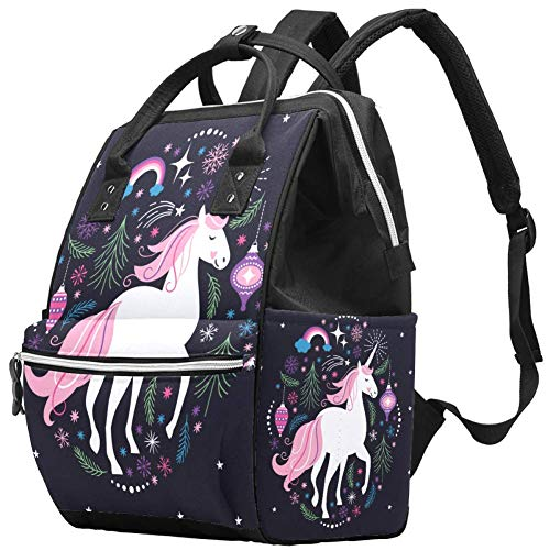 Backpacks Diaper Bag Laptop Rucksack Lightweight Hiking Camping Travel Daypack for Women Unicorn Rainbow Star Pink Horse Tree Lantern
