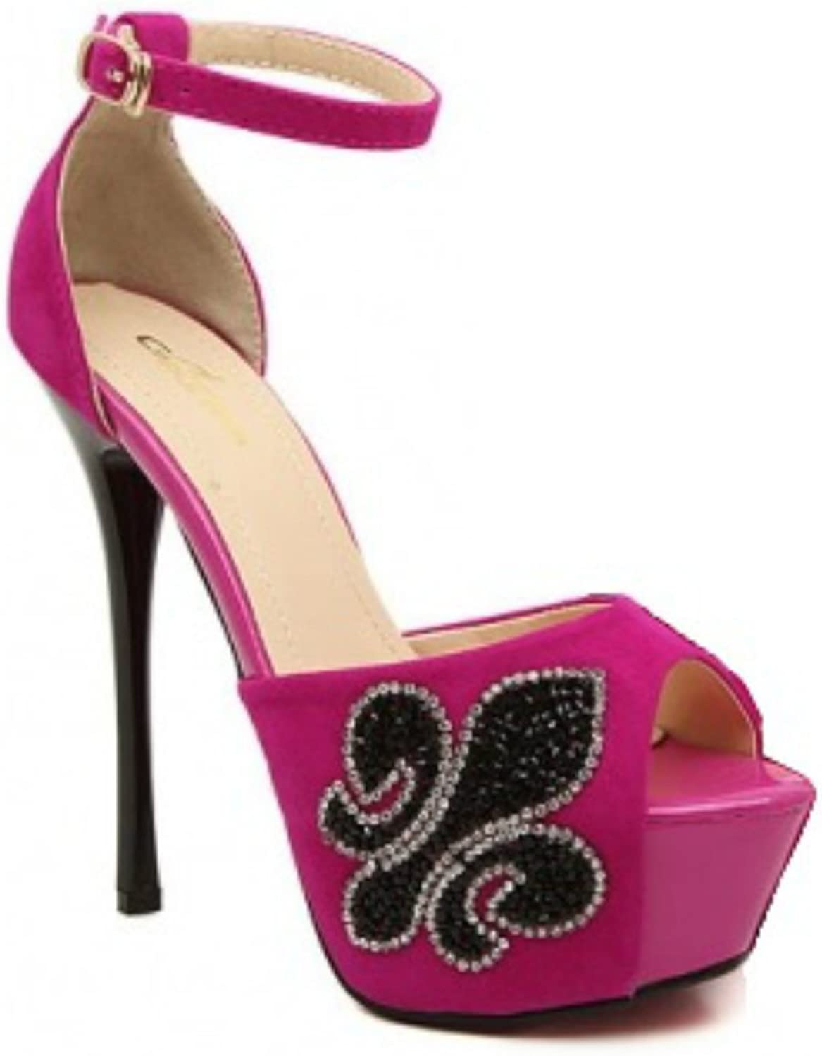 Hot Pink Suede Peep Toe Pump Jeweled Stiletto Heel shoes