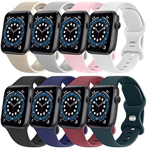 AK - Set di 8 cinturini compatibili con Apple Watch, 38 mm, 42 mm, 40 mm, 44 mm, cinturini in silicone di ricambio compatibili con iWatch Serie 6 5 4 3 2 1 (confezione C, 38/40 mm)