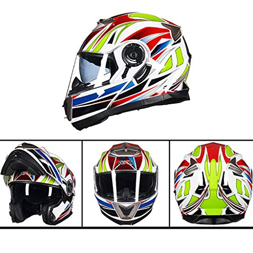 Motorrad Roller Helm,Modularer hochklappbarer Motorradhelm mit Doppelvisier,ECE-Zulassung für erwachsene Männer, Frauen, Motorcross-Helme F-M(55-57cm)