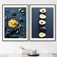ドーナツコーヒーブルーベリーアボカドウォールアートキャンバス絵画北欧のポスターとプリントリビングルームの装飾のための暗い写真50x70cmx2フレームなし