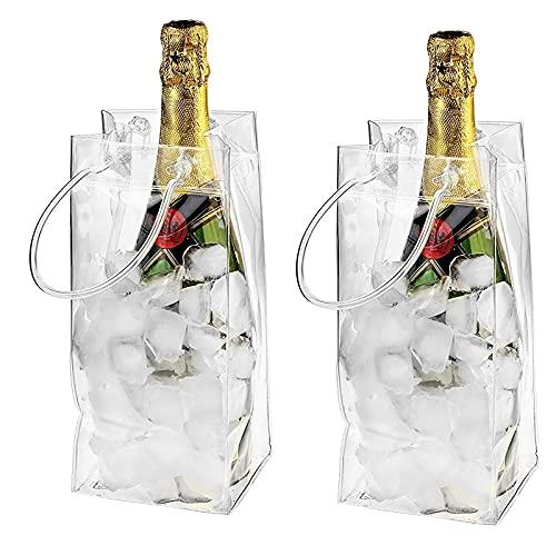 Yajun Enfriador de Vino Bolsa de Hielo Paquete de Congelador a Prueba de Fugas de PVC Botella de Champán Transparente Portátil Enfriamiento de Hielo con Mango 2 Uds