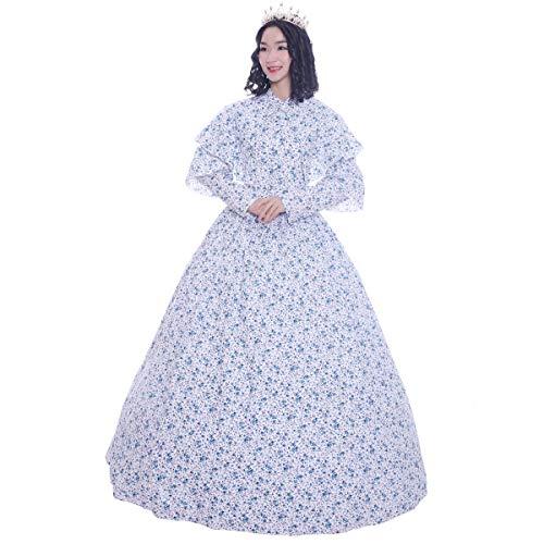 CountryWomen Vestido e capa de algodão da época romântica com estampa vitoriana da Guerra Civil, Imagem_2, M